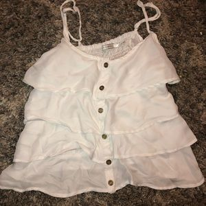 white ruffled tank